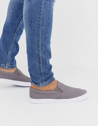 ASOS DESIGN slip on plimsolls in gray canvas