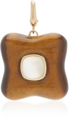 Rush Jewelry Design 18K Yellow Gold and Tigers Eye Draper Charm