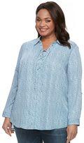 Croft & Barrow Plus Size Printed Lace-Up Shirt