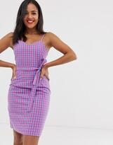 Daisy Street cami dress with tie waist in gingham