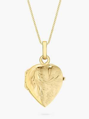 IBB 9ct Gold Flower Heart Locket Pendant Necklace, Gold