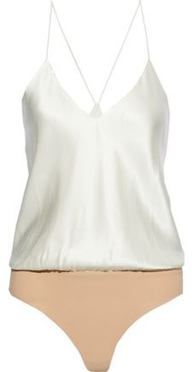 Alix Lewis Silk-charmeuse And Stretch-jersey Bodysuit