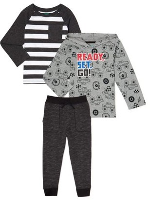 Garanimals Baby and Toddler Boys Long Sleeve T-Shirt, Hoodie Sweatshirt & Jogger Pants, 3-Piece Outfit Set