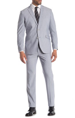 Kenneth Cole Reaction Light Blue Sharkskin Techni-Cole Performance Slim Fit Suit