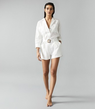Reiss Pixie - Linen Belted Beach Shorts in White