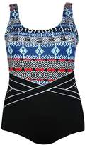Poolproof Tribal Stripe Waist Piped One Piece
