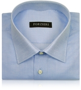 Forzieri Marcus Line - Solid Light Blue Oxford Cotton Dress Shirt