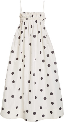 Ganni Polka-Dot Recycled Crepe Midi Dress