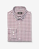 Express Slim Check Print Wrinkle-Resistant Performance Dress Shirt