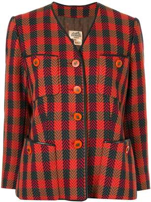 Hermes Pre-Owned checked single-breasted jacket