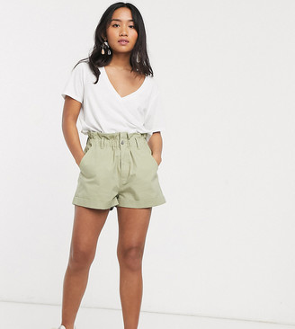 ASOS DESIGN Petite casual short with paperbag waist in stone