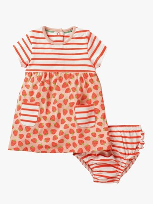 Boden Mini Baby Strawberry Hotchpotch Dress and Knickers Set, Peach Melba