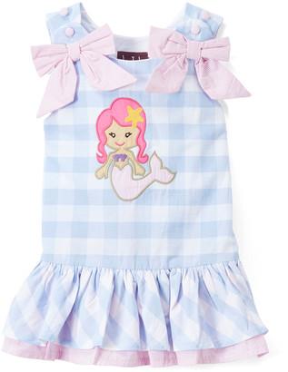 Lil Cactus Girls' Casual Dresses - Light Blue Plaid Mermaid Applique Drop-Waist Dress - Infant