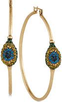 Lucky Brand Gold-Tone Peacock Pavé Hoop Earrings