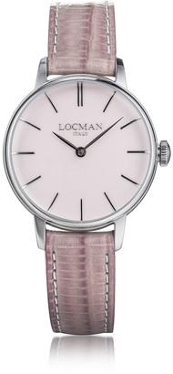 Locman 1960 Silver Stainless Steel Women's Watch w/Pink Croco Embossed Leather Strap