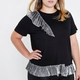 River Island Womens Plus Black metallic frill T-shirt