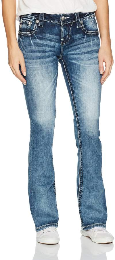 Miss Me Women's Lace Embellished Flap Pocket Boot Cut Denim Jean