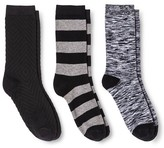 Merona Women's Crew Socks 3-Pack Texture Black One Size