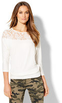 New York & Co. Lace-Panel Dolman Top