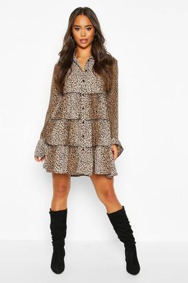 boohoo Leopard Print Smock Dress