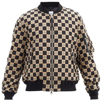 Burberry Brookland Chequer-print Cotton Bomber Jacket - Black Beige