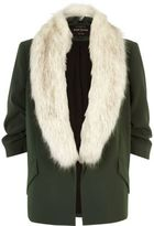 River Island Womens Khaki green faux fur open jacket