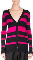 Proenza Schouler Ultrafine Striped Knit Cardigan, Pink/Black