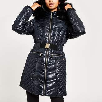 River Island Womens Navy high shine fitted padded jacket