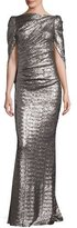 Talbot Runhof Konica Sequined Cape-Back Gown, Stone