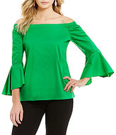 Gibson & Latimer Ruffled Off-the-Shoulder Bell Sleeve Poplin Blouse