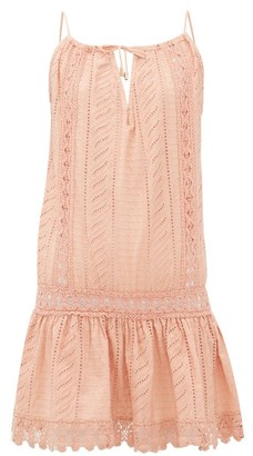 Melissa Odabash Chelsea Embroidered Cotton Mini Dress - Womens - Tan