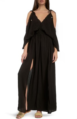 Elan International Butterfly Crinkle Cover-Up Maxi Dress