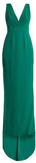 Diane von Furstenberg Deep V Neck Silk Cady Gown - Womens - Green
