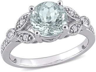 Miadora 14k White Gold Aquamarine and 1/6ct TDW Diamond Vintage Filigree Engagement Ring