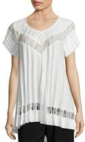 Zimmermann Winsome Sunray Pleated Lace Inset Top
