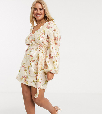 Skylar Rose Plus wrap dress with balloon sleeves in lux floral sequin