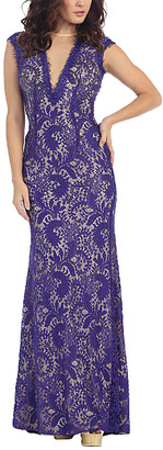 Mayqueen MayQueen Women's Special Occasion Dresses Purple - Purple Lace Back-Coutout V-Neck Maxi Dress - Women