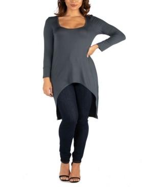 24seven Comfort Apparel Women's Long Sleeve High Low Tunic Top