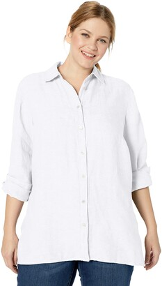 Foxcroft Women's Petite Journey Chambray Linen Shirt