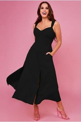 Goddiva Vicky Pattison Black Strap Slit Tea Dress