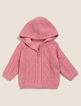Marks and Spencer Pure Cotton Hooded Cable Knit Cardigan (0-3 Yrs)