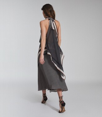 Reiss ELINE SCARF PRINT MIDI DRESS Navy Print