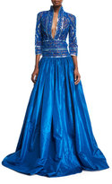 Naeem Khan Stand-Collar Plunging Beaded-Bodice Ball Gown