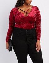 Charlotte Russe Plus Size Velvet Strappy Bodysuit