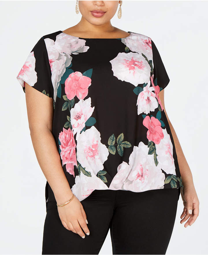 INC International Concepts I.n.c. Plus Size Printed Twist-Front Top