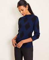 Ann Taylor Petite Diamond Jacquard Mock Neck Sweater