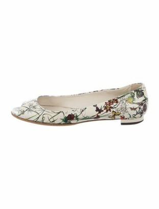 Gucci Flora Print Leather Ballet Flats