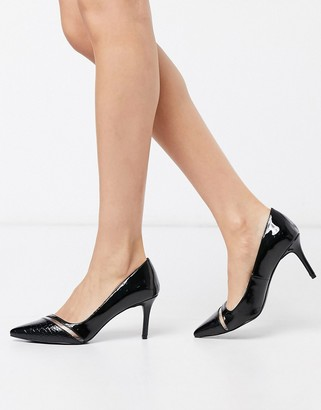 Call it SPRING stellas pointed mid heel court shoes in black