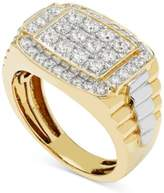Macy's Men's Diamond Cluster Two-Tone Ring (1 ct. t.w.) in 10k Yellow and White Gold
