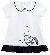 Armani Junior Cap-Sleeve Stretch Jersey Fish Tunic, White, Size 6-36 Months